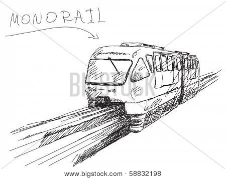 Sketch of monorail train Vector