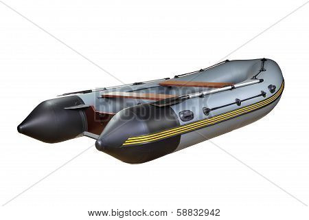 Gray Dinghy With Oars, Isolated On White Background, No Body.