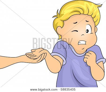 Illustration of a Frightened Boy Holding Out His Hand