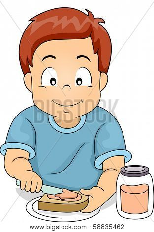 Illustration of a Little Boy Putting Sandwich Spread on His Sandwich