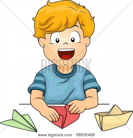 Illustration of a Little Kid Folding Pieces of Paper into Different Shapes