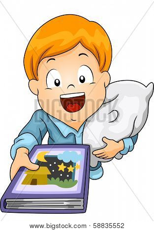 Illustration of a Little Boy Requesting to be Read a Bedtime Story