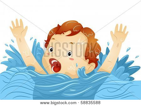 Illustration of a Drowning Boy Waving His Hands Frantically While Shouting for Help