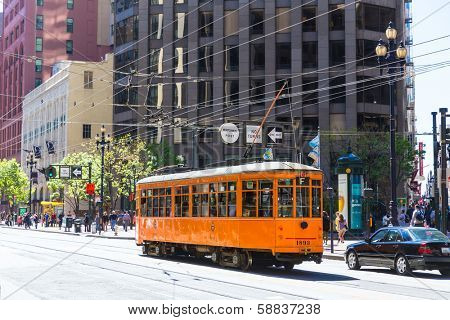 SAN FRANCISCO - APRIL 20, 2031: Car 1856 in Market Street F line built in 1928 and originally served in Milan Italy now in San Francisco, California on April 20, 2013.