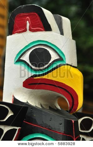 Close-up Of Eagle Totem Pole