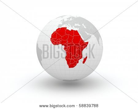 Globe. 3d. Africa. Elements of this image furnished by NASA
