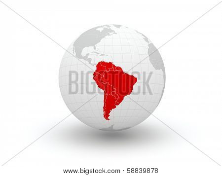 Globe. 3d. South America. Elements of this image furnished by NASA