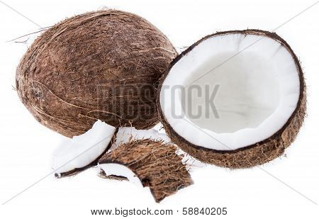 Cracked Coconut Isolated On White