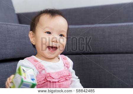 Little girl feel excited