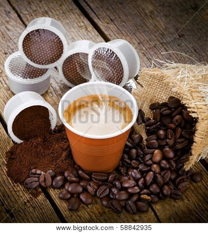 Espresso Coffee In Disposable Cup With Pods