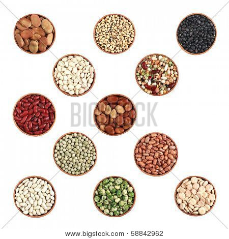 Collection of beans and lentille on a white background