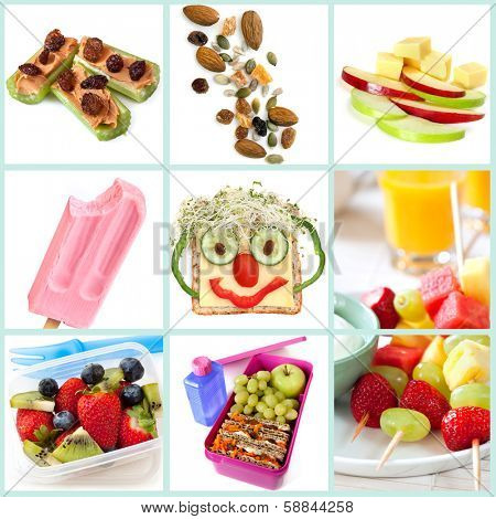 Collection of healthy snacks particularly for children.  Includes ants on a log, trail mix, apple and cheese, frozen yogurt, smiley face sandwich, fruit salad and kebabs, and a healthy lunchbox.