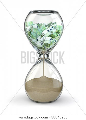Time is money. Inflation. Hourglass and euro. 3d