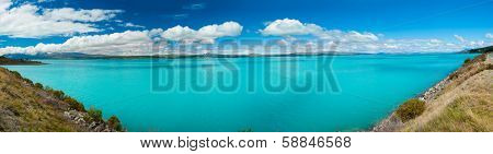 Beautiful incredibly blue lake Pukaki at New Zealand, panoramic photo