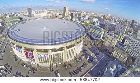MOSCOW, RUSSIA - OCT 30, 2013:  (view from unmanned quadrocopter) Olympiysky Sports Complex. Olympic Sports Complex - one of largest indoor sports complexes in Europe.