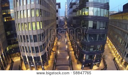 MOSCOW, RUSSIA - NOV 02, 2013: (view from unmanned quadrocopter) White Square Office Center at evening. White Square Office Center is located in center of city and was built in 2007.