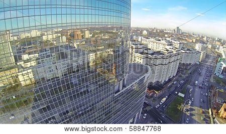 MOSCOW, RUSSIA - NOV 09, 2013: (view from unmanned quadrocopter) Roof of Business Centre Preo-8 and Preobrajenskaya Square. Height of twenty-eight-storey building Preo-8 is 106 m.
