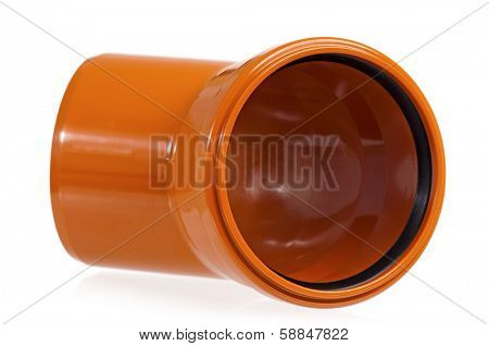 New orange drain pipe, isolated on white background