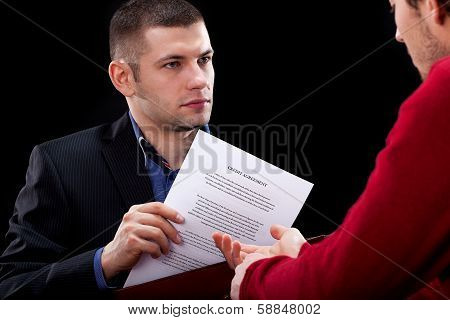 Businessman Hidding Unfair Contract