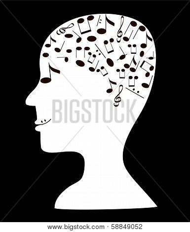 Head with notes, vector