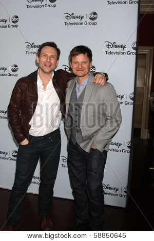 LOS ANGELES - JAN 17:  Christian Slater, Steve Zahn at the Disney-ABC Television Group 2014 Winter Press Tour Party Arrivals at The Langham Huntington on January 17, 2014 in Pasadena, CA