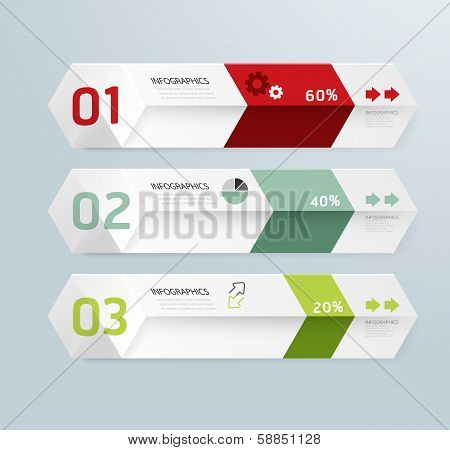 Infographic Template Modern Box Design Minimal Style / Can Be Used For Infographics / Numbered Banne