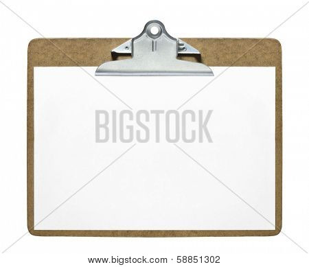 Clipboard with blank sheet of paper isolated on white background