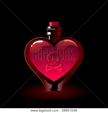 Glass bottle with a love potion