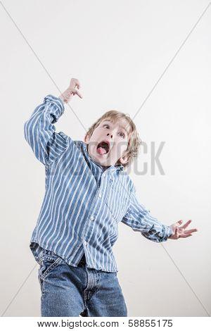 Wild funny little boy