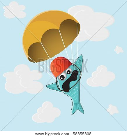 fish with a parachute