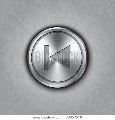 Vector round metal backward rewind button