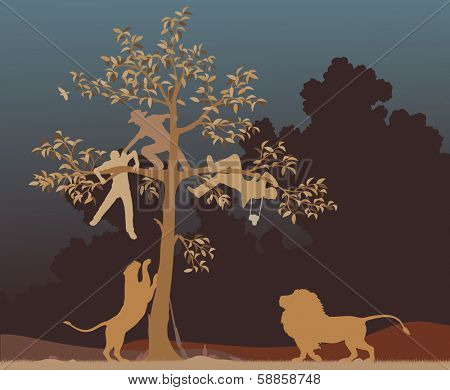 Editable vector illustration of three men chased into a tree by a pair of lions