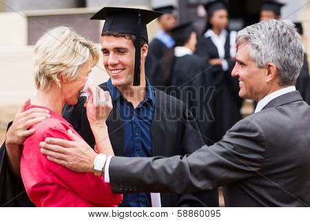 proud mother with tears of joy at her son's graduation