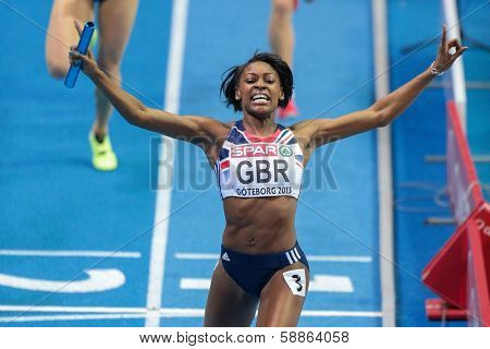 GOTHENBURG, SWEDEN - MARCH 3 Perri Shakes-Drayton (GBR) and her team win the women's 4x400m relay finals during the European Athletics Indoor Championship on March 3, 2013 in Gothenburg, Sweden.