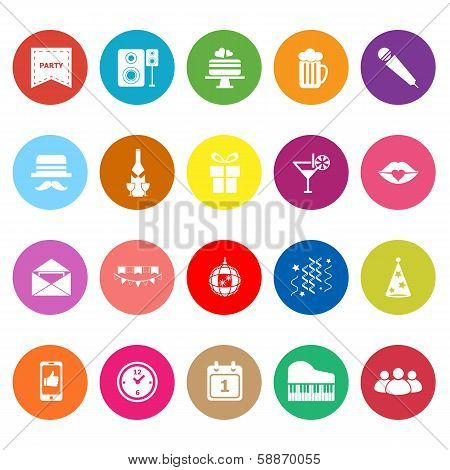 Celebration Flat Icons On White Background