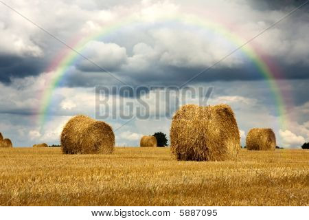 Harvest Strorm With Rainbow