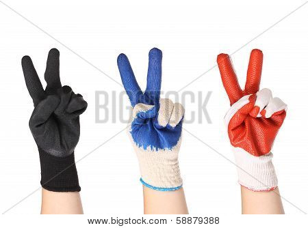 Working hands in gloves