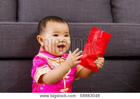 Chinese baby so happy for red pocket