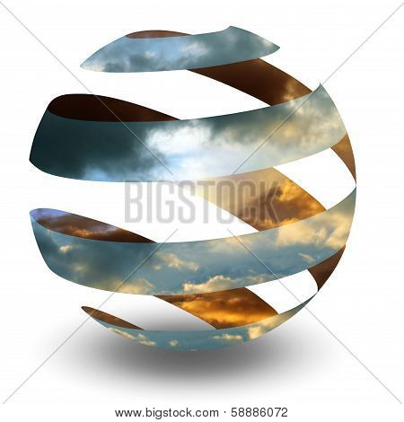 Circle Spiral Sphere with clouds