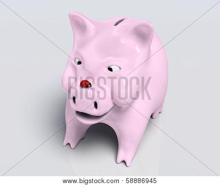 Smiling Piggy Bank With Ladybug On Nose