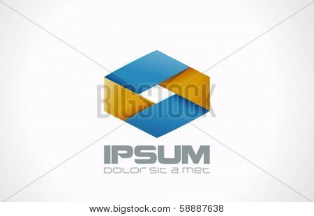Business ribbon rhombus abstract vector logo design template. Cycle looped style. Creative infinite loop shape icon. Infinity symbol.