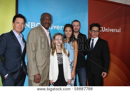 LOS ANGELES - JAN 19:  K MacLachlan, D Lindo, J Sequoyah, Jamie Chung, Jake McLaughlin, JJ Abrams at the NBC TCA Winter 2014 Press Tour at Langham Huntington Hotel on January 19, 2014 in Pasadena, CA