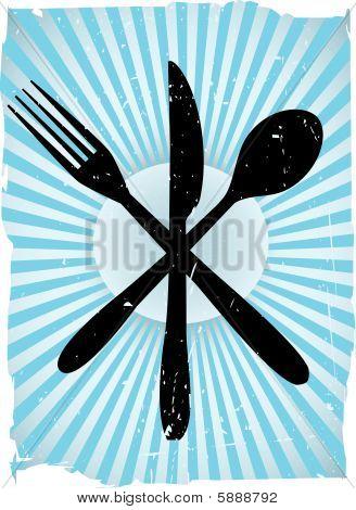 Cutlery Grunge Vector Background