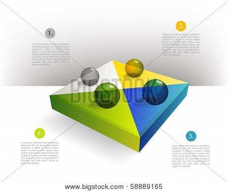 Presentation template rectangle graph with a 3D glass balls. Pie chart diagram. Infographics web ele