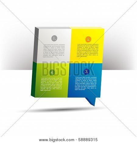 Presentation template 3D cube graph. Speech bubble diagram. Infographics web elements.