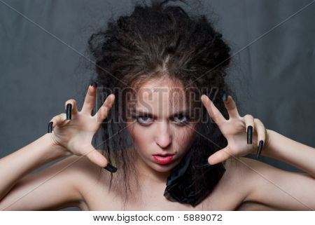 Witch With Blak Nails