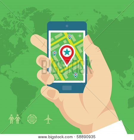 Smartphone with Map & Location in Human Hand
