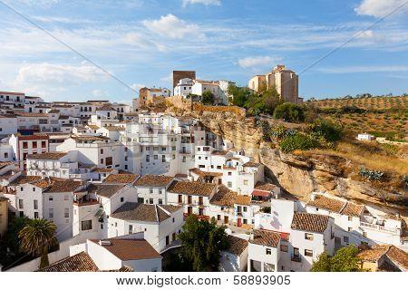White houses in Setenil de las Bodegas small town Spain