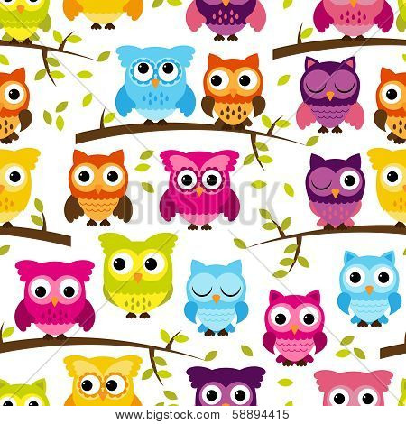 Seamless and Tileable Vector Owl Background Pattern
