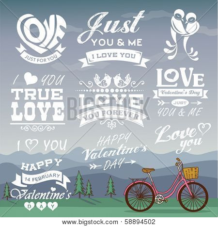 Valentine's day labels, icons elements collection with romantic background 02